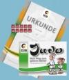 Prüfungsmarke + Urkunde 4.Kyu (orange-grün) + Begleitheft 3.Kyu (grün)