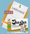Prüfungsmarke + Urkunde 5.Kyu (orange) + Begleitheft 4.Kyu (orange-grün)