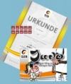 Prüfungsmarke + Urkunde 6.Kyu (gelb-orange) + Begleitheft 5.Kyu (orange)
