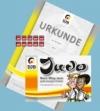 Prüfungsmarke + Urkunde 7.Kyu (gelb) + Begleitheft 6.Kyu (gelb-orange)