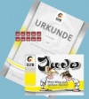 Prüfungsmarke + Urkunde 8.Kyu (weiß-gelb) + Begleitheft 7.Kyu (gelb)